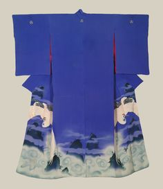 "Blue Irotomesode, Late Meiji (1880-1911). A silk antique irotomesode featuring large elegant cranes above a swirling ocean. Yuzen-dyeing with embroidery highlights.  49"" from sleeve-end to sleeve-end x 60"" height.  The Kimono Gallery"