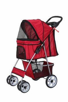 Confidence Deluxe Folding Four Wheel Pet Stroller Red - http://www.thepuppy.org/confidence-deluxe-folding-four-wheel-pet-stroller-red/