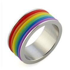 Dazzle Beautiful Colorful Rainbow Titanium Steel Ring – AUD $ 8.57