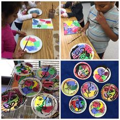 Grades 1-2 made their Funny Face Picasso Plates in honor of #Picasso 's 135th birthday this week