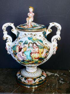 "Vintage Huge 20"" Capodimonte Porcelain Lidded Vase or Urn Italy Cherub Children #Capodimonte"