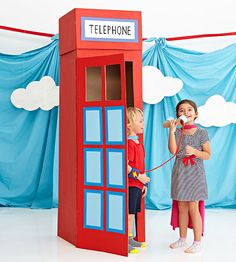 Turn cardboard boxes into a phone booth for heroes' quick costume changes. Great for a Hero party! http://www.parents.com/fun/birthdays/ideas/diy-superhero-phone-booth/?socsrc=pmmpin130426cDIYPhoneBooth
