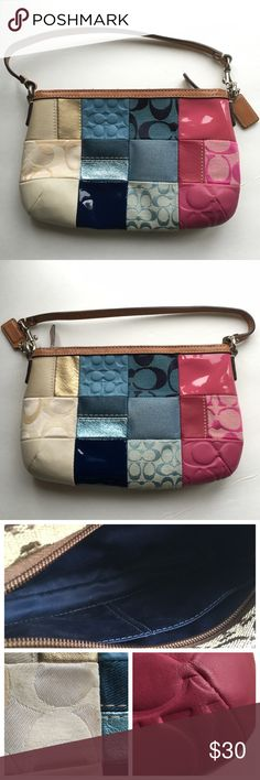 """Coach patchwork wristlet Authentic Coach wristlet.  Fun patchwork print.  Strap can be moved.  Two small pockets on the inside.  Does have minor makeup marks on the interior.  Approximately 5.5"""" long (deep) and a little over 8"""" wide (across).  Minor scuff on the pink leather and a discoloration on the cream material.  Price is BUY NOW only- FIRM unless bundled.  no trades. Coach Bags"""