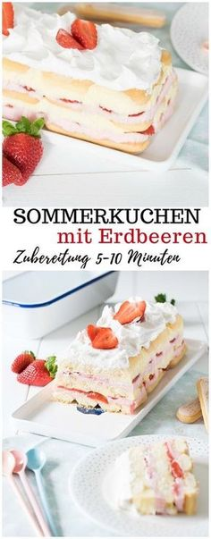 Summer cake with strawberries - preparation in 10 minutes! - Unalife- Sommerkuchen mit Erdbeeren – Zubereitung in 10 Minuten! – Unalife Very simple summer cake with strawberries without baking - Baking Recipes, Snack Recipes, Dessert Recipes, Cupcake Recipes, Food Cakes, Summer Cakes, Cupcakes, Strawberry Cakes, Fall Desserts