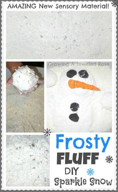 Frosty Fluff - a sparkly NEW type of snow you can make at home with just three basic ingredients!  Feels AMAZING!!! Seriously, you really must try this one!!