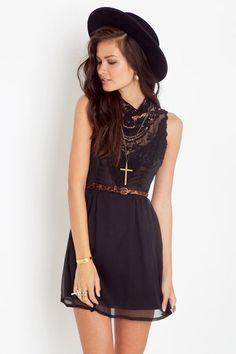 lace front black dress #girly #chic