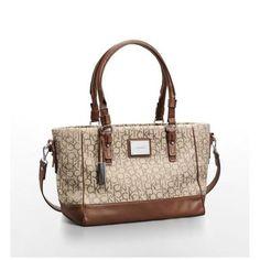 Calvin Klein Womens Logo Jacquard City Shopper Tote Shoulder Bag
