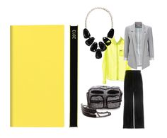Daycraft Signatue Pocket Diary in Yellow $21.50 complements this chic outfit – Alexander Wang Brenda Printed Chain Bag, Chicnova-Pocket Semi-sheer Blouse in Neon Color, Giorgio Armani High-rise velvet pants, Grey Ponte Blazer Jacket and Kendra Scott Harlow Necklace, Black Onyx
