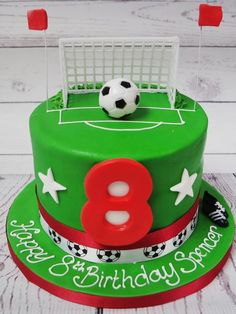 Football scene cake with plastic model goal and ball, numbered candle, sugar stars and ribbon. You choose your size and flavour of cake and personalise your edible message. The cake will be as near as possible to the picture shown. Soccer Birthday Cakes, 8th Birthday Cake, Football Cakes For Boys, Uk Football, Football Pitch Cake, Soccer Ball Cake, Carousel Cake, Berry Cake, Cake Decorating Techniques
