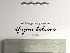 """Mark 9:23 Bible Quote Inspirational Motivational Wall Decal Home Décor """"All Things Are Possible If You Believe"""" 42x14 Inches"""
