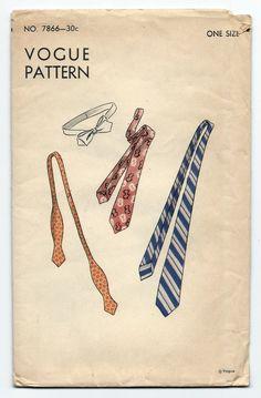 Vintage Vogue degli anni trenta 7866 collo cravatta Mens gentiluomini imposta Skinny Tie che sette piegare cravatta farfallino Sewing Pattern Factory piegato di PinkPolkaDotButton su Etsy https://www.etsy.com/it/listing/205443625/vintage-vogue-degli-anni-trenta-7866