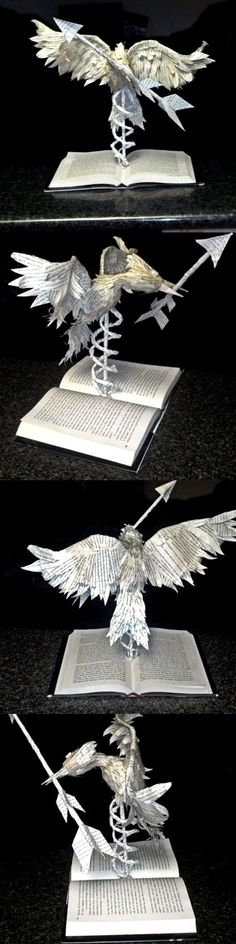 20 Unique 'The Hunger Games' Items on Etsy - Mockingjay Sculpture - From Etsy seller BeckyJArts (http://www.etsy.com/listing/92908844/book-sculpture-the-hunger-games)