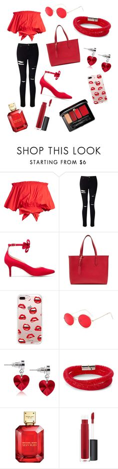 """Untitled #2"" by clarissa-tpww ❤ liked on Polyvore featuring Saloni, Miss Selfridge, Isa Tapia, Burberry, Steve Madden, Pink Box, Swarovski, John Lewis and Guerlain"