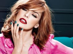 nails. lips. haircut. smokey brown eyes. fuchsia blouse! Milla Jovovich for L'Oreal Paris