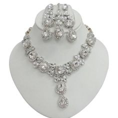 Iba 3 Pcs Silver Tone White CZ Necklace Set Traditional Bollywood Jewelry Wedding Party Wear Bridal Ethnic Sari Jewelry Gift India IBA, $46.99  http://www.amazon.com/dp/B00B2GH0CM/ref=cm_sw_r_pi_dp_xMhirb1PRCWMY