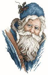 People Embroidery Design: Blue Santa Portrait from Vermillion Stitchery