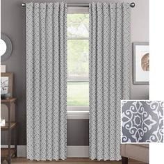 better homes and gardens diamond scroll room darkening curtain panel - Room Darkening Curtains