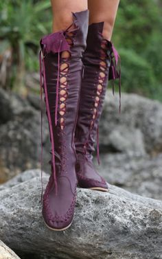 Plum Knee High Leather Boots