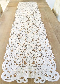 I have some stuff like this Mexican fabric table runner, in lovely Papel Picado design. Flower lace detail, All white. Beautiful as wedding decor, bridal showers, baby showers. You will surely wow your guests with this work of a Wedding Table, Diy Wedding, Wedding Ideas, Wedding Pictures, Wedding Details, Wedding White, Wedding Themes, Trendy Wedding, Mexican Wedding Decorations