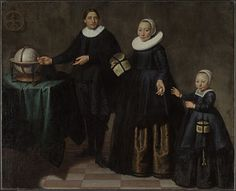 attributed to Jacob Gerritsz Cuyp: Portrait of Abel Tasman, his wife and daughter. 1637 Tasman was the first European to see Tasmania & New Zealand in 1642 while looking for a route to Chile. Van Diemen's Land, Potrait Painting, Abel Tasman, Australia Map, Colonial America, Fashion Now, Dutch Artists, First Contact, Tasmania