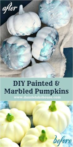 Want to make marbled pumpkins with nail polish? It's EASY - click  through for the tutorial for these teal no carve DIY marbled pumpkins  and make your own marbled Indigo pumpkins in minutes. These marbled mini pumpkins are a modern way to decorate for fall! And these DIY marbled  pumpkins are quick and easy to make. Marbled painted pumpkins a fun fall craft for kids too. Pumpkin decorating for kids can still be chic!  #marbledpumpkin  #indigopumpkin #marbleddiy #diypumpkin Faux Pumpkins, Painted Pumpkins, Modern Halloween, Halloween Diy, Diy Crafts For Kids Easy, Easy Diy, Diy Pumpkin, Pumpkin Carving, No Carve Pumpkin Decorating