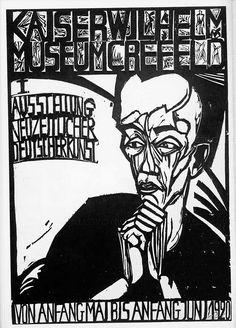 Erich Heckel:Kaiser-Wilhelm-Museum, Krefeld (1920) Germany. Woodcut, 63.5 x 45cm. Bruecke-Museum, Berlin, Germany