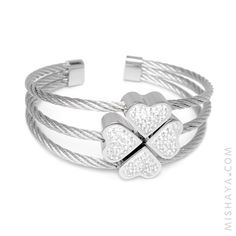 """7"""" four leaf clover love & good luck bracelet - silver tone stainless steel cuff bracelet style. Four hearts come together & form a sparkly shamrock. Gift for her 