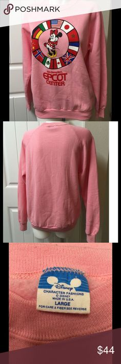 """Vintage Minnie Mouse Epcot Disney Sweatshirt Pink Amazing vintage Minnie Mouse Epcot center sweatshirt.  Excellent condition.  No stains, holes or fading.  Tagged size large but please see measurements to ensure proper fit. Measured laying flat unstretched  Bust 21.5"""" Length 27"""" Disney Tops Sweatshirts & Hoodies"""