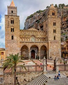 CEFALU Norman Cathedral built between 1145 and 1240 according to vow of King Roger II or Ruggiero II of Sicily and Naples and etc. Places To Travel, Places To See, Cefalu Sicily, Best Places In Italy, Palermo Italy, Sicily Travel, Beau Site, Italy Tours, Sicily Italy