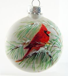 Cardinal Hand Painted Glass Christmas Ornament by HarmanArt Handpainted Christmas Ornaments, Hand Painted Ornaments, Handmade Ornaments, Glass Christmas Ornaments, Christmas Art, Christmas Projects, Christmas Decorations, Christmas Island, Glitter Ornaments