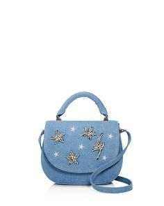 True-blue denim has evolved from your average jean, starting with Studio 33's star-studded flap bag-an exclusive design that lends playful flair to your weekendwear. | Denim | Imported | Top handle, a