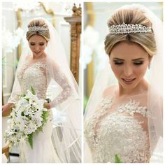 Wedding Veils Hairstyles Beautiful For 2019 Plus Size Wedding Dresses With Sleeves, Colored Wedding Dresses, Wedding Colors, Veil Hairstyles, Wedding Hairstyles With Veil, Hairdo Wedding, Wedding Veils, Trendy Wedding, Wedding Styles