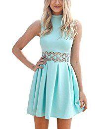 Damen Hoher Kragen Minikleid Einfarbig A-Linie Frauen Sommer Ärmelloses Beiläufige Spitzen Stitching Abend Partei Kurzes Kleid Hellblau