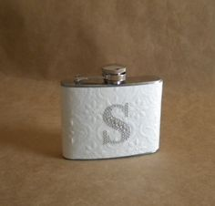 Embossed White with Any Rhinestone Initial Bridal Garter Stainless Steel 4 ounce Girly Flask @ R280 each