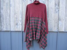 Holiday Lagenlook Boho Dress Tunic Artsy Upcycled by FreeRangeRags, $55.00