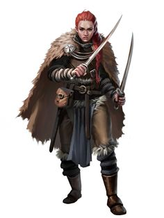 f Ranger Medium Armor Cloak Dual Shortswords female human Vigilant Seal Guard Pathfinder PFRPG DND D&D ed Fantasy Grounds lg Fantasy Warrior, Fantasy Rpg, Medieval Fantasy, Fantasy Girl, Dnd Characters, Fantasy Characters, Fantasy Inspiration, Character Inspiration, Character Concept