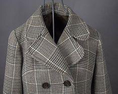 Vintage 80's Ladies Wool Tweed Coat, Vintage 80's Tweed Plaid Brownand Biege  Ladies Coat, Vintage 70's Tweed Double Breasted Ladies Coat
