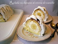Rulada cu crema de vanilie si banane Cakes And More, Camembert Cheese, French Toast, Muffin, Dairy, Cooking, Breakfast, Food, Sweets