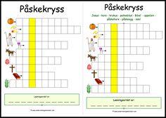 #påske #kryss #kryssord #ord #begreper #undervisning #krle #barn Ord
