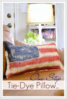 Patriotic Tie-Dye Pillow