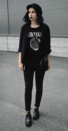 Hat with black jacket, Nirvana graphic printed tee, black pants & faux leather shoes by merakilex Looking for black outfit ideas? Then check these 36 black outfits ideas! Edgy Outfits, Grunge Outfits, Cool Outfits, Fashion Outfits, Black Outfits, Black Outfit Grunge, Fashion Boots, Spring Outfits, Fashion Tips
