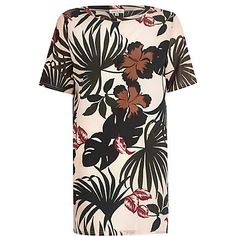 Light pink tropical print woven front tunic €33.00