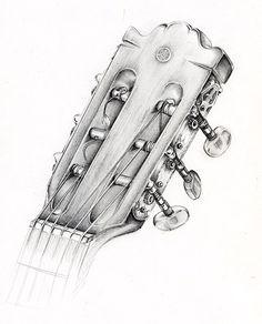 Bildergebnis für gitarre zeichnen Music Drawings, Drawing Sketches, Pencil Drawings, Art Drawings, Sketching, Guitar Drawing, Guitar Painting, Guitar Art, Graffiti Art