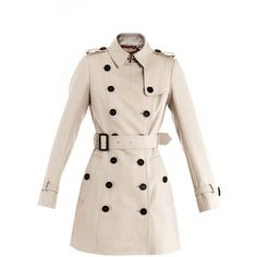 BURBERRY PRORSUM Cotton trench coat ($857) ❤ liked on Polyvore featuring outerwear, coats, jackets, casacos, coats & jackets, beige, double breasted coat, trench coat, beige trench coat and long sleeve coat