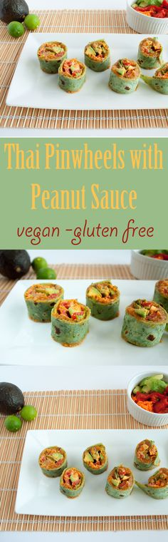 Thai Pinwheels with Peanut Sauce (vegan, gluten free) - These easy pinwheels are similar to spring rolls, but in a different package. They are perfect for a party!