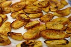 """Fried plantain // The real local St. Lucian cuisine is naturally gluten-free (wheat doesn't grow here in the tropics).  Our """"flour"""" is cassava """"farine"""" made from a grated/soaked/dried tuber (root vegetable). You will find Cassava Pones (moist cake-like bread), Farine & Zaboca (avocado), Farine Dumplings in Bouyon (a hearty vegetable soup) and cassava farine used as a thickener in sauces, etc."""