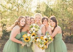 sage bridesmaid dresses, sunflower bouquets