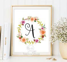 Printable flower nursery initials nursery by LittleEmmasFlowers