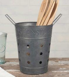 Vintage Inspired Rustic French Farmhouse Utensils ~Ustensiles~ Bucket