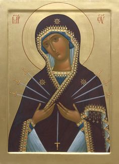 This icon of the Mother of God of Seven Arrows is handpainted on a gessoed wooden board using egg tempera paints. A real masterpiece from the icon painting studio of St Elisabeth Convent Religious Images, Religious Icons, Religious Art, Byzantine Icons, Byzantine Art, Arrow Painting, Paint Icon, Our Lady Of Sorrows, Hip Hop Art